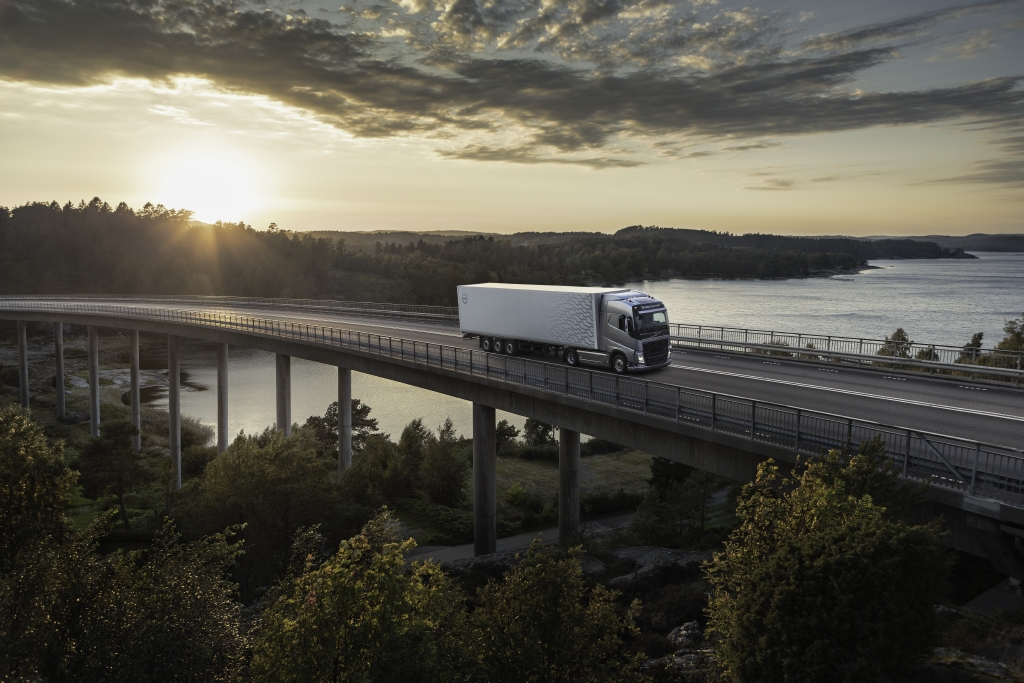 Volvo used truck driving on road